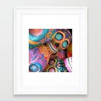sugar skulls Framed Art Prints featuring sugar skulls by wet yeti