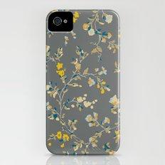 vintage floral vines - greys & mustard iPhone (4, 4s) Slim Case