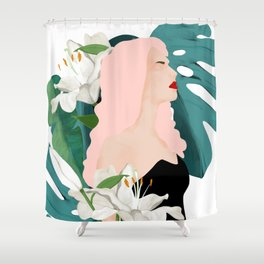 girl exotic illustration Shower Curtain