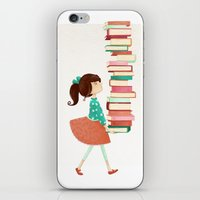library iPhone & iPod Skins featuring Library Girl by Stephanie Fizer Coleman