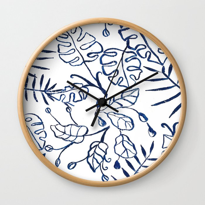 Tropical Plant Boho Chinoiserie Blue and White Wall Clock