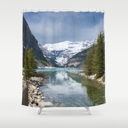 Frozen Lake with Snowcapped Mountains (Canada) Shower Curtain
