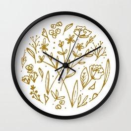 Golden Wildflowers Illustration - Mustard Yellow Rustic Floral Print Wall Clock
