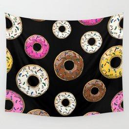 Funfetti Donuts - Black Wall Tapestry