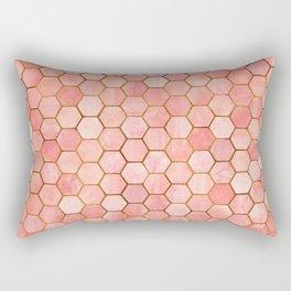 Coral and Gold Hexagonal Geometric Pattern Rectangular Pillow