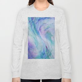 Pastel Violet Turquoise Abstract Ink Painting Long Sleeve T-shirt