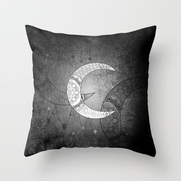 The moon, mandala design Throw Pillow