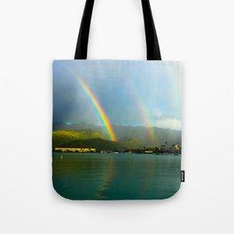 Hawaii Double Rainbow Tote Bag