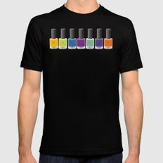 Colour happy MEDIUM Black Mens Fitted Tee