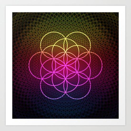 Sacred Rainbow Flower of Life Art Print