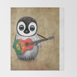 Baby Penguin Playing Portuguese Flag Acoustic Guitar Throw Blanket