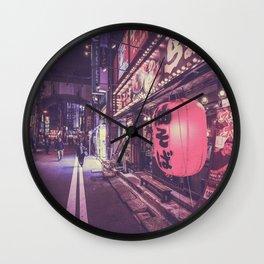 Shop in tokyo night street Wall Clock