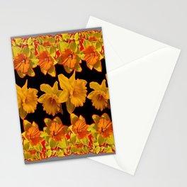 GOLDEN DAFFODILS GARDEN IN GREY-BLACK ART DESIGN Stationery Cards