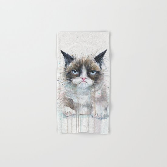 Grumpy Kitty Cat Hand & Bath Towel