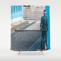 korea Shower Curtains featuring Guarding the MDL_South Korea by Jennifer Stinson