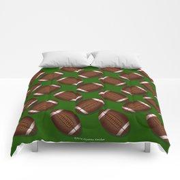 Footballs Design on Green Comforters