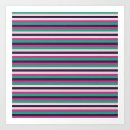 Pink green purple geometrical stripes pattern Art Print