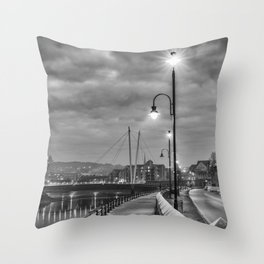 Early Winter evening St. George's Quay, Lancaster Throw Pillow
