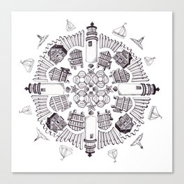 Cape Cod Mandala (black on white) Canvas Print