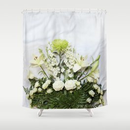 Green and Cream Flowers Shower Curtain