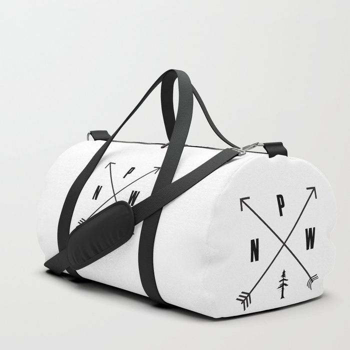 PNW Pacific Northwest Compass - Black on White Minimal Duffle Bag