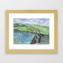 Railroad Across a River Framed Art Print