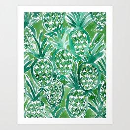 DEM PINEAPPLES Green Tropical Art Print
