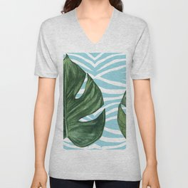Tropical Watercolor Swiss Cheese Leaf and Zebra Unisex V-Neck