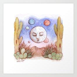 Desert Moon Watercolor Art Print
