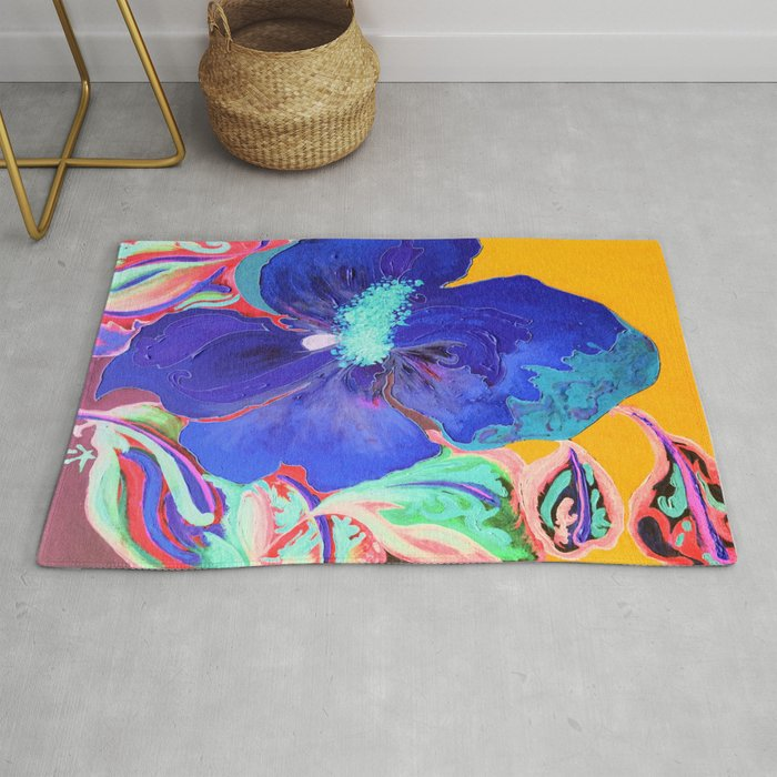 Birthday Acrylic Blue Orange Hibiscus Flower Painting with Red and Green Leaves Rug