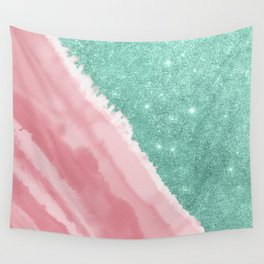 Modern Aqua Teal Pink Glitter Watercolor Beach Wall Tapestry