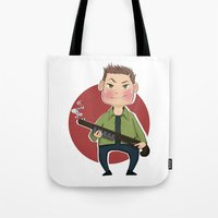 dean winchester Tote Bags featuring Dean Winchester by RiruD