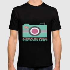 My Heart Belongs to Photography Black MEDIUM Mens Fitted Tee