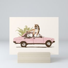 Tiger on Car Mini Art Print