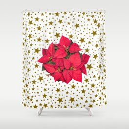 Red Christmas flower and sparkly gold stars Shower Curtain