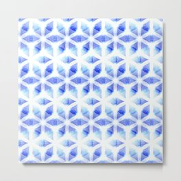 Flower of Life   Blue Light Sacred Geometry Design Pattern Metal Print