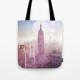 I LOVE PINK NEW YORK CITY SKYLINE - Full Moon Universe Tote Bag