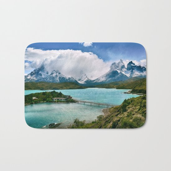 Magestic Landscape #photography #society6 #ocean#mountians Bath Mat