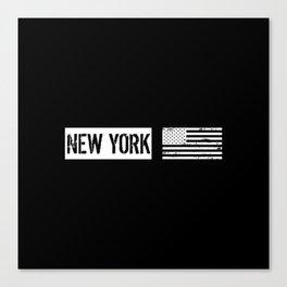 Black & White U.S. Flag: New York Canvas Print