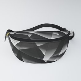 Exclusive toned pattern of chaotic black and white fragments of glass, foil, and silver plates. Fanny Pack