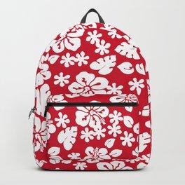 Hawaiian Hibiscus Flower pattern red Backpack
