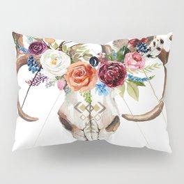 Geometric tribal floral bull skull Pillow Sham