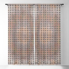 Wooden Circular Wood Weave Pattern Sheer Curtain