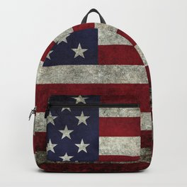 American Flag, Old Glory in dark worn grunge Backpack