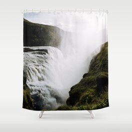 Gullfoss waterfall in Iceland - Landscape Photography Shower Curtain
