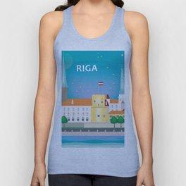 Riga, Latvia - Skyline Illustration by Loose Petals Unisex Tank Top