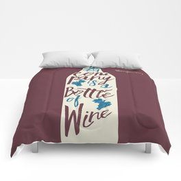 Hemingway quote on Wine and Good Company, fun inspiration & motivation, handwritten typography Comforters