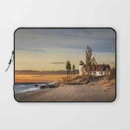 Point Betsie Lighthouse at Sunset on Lake Michigan near Frankfort Michigan No.66032 Fine Art Lightho Laptop Sleeve