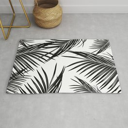 Black Palm Leaves Dream #1 #tropical #decor #art #society6 Rug