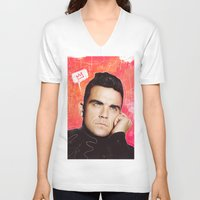hayley williams V-neck T-shirts featuring Robbie Williams by cecart